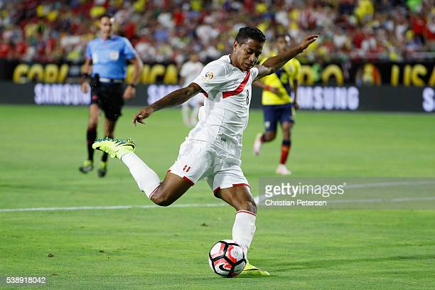 Andy Polo of Peru attempts a shot against the Ecuador during the second half of the 2016 Copa America Centenario Group B match at University of...