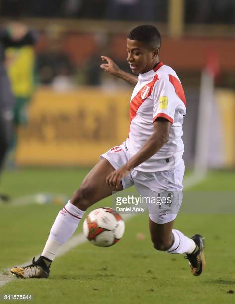 Andy Polo of Peru controls the ball during a match between Peru and Bolivia as part of FIFA 2018 World Cup Qualifiers at Monumental Stadium on August...