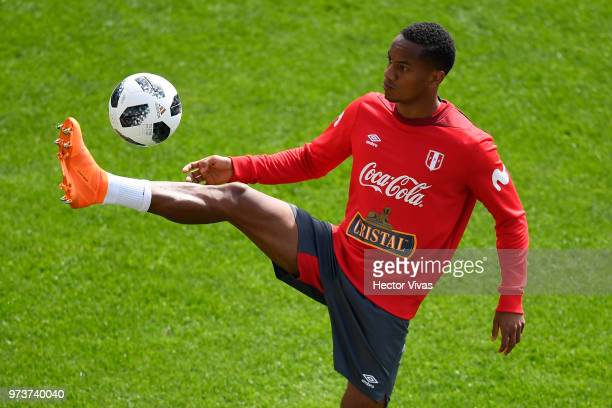 Andy Polo of Peru controls the ball during a training session at Arena Khimki on June 12 2018 in Khimki Russia