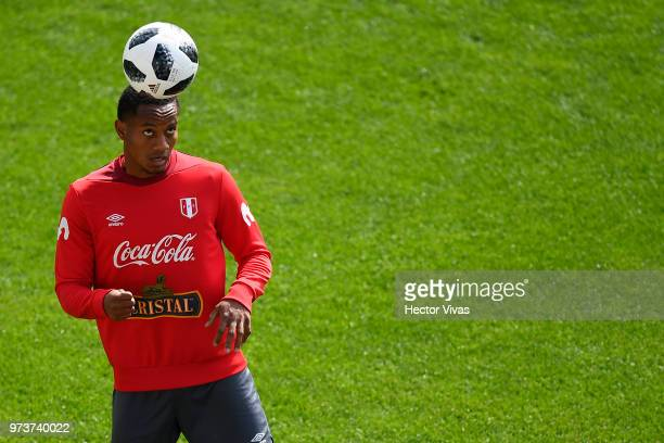 Andy Polo of Peru heads the ball during a training session at Arena Khimki on June 12 2018 in Khimki Russia