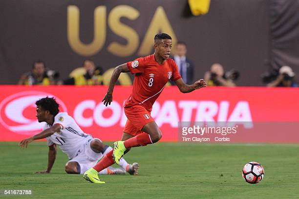Andy Polo of Peru in action during the Colombia Vs Peru Quarterfinal match of the Copa America Centenario USA 2016 Tournament at MetLife Stadium on...