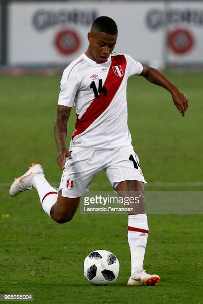 Andy Polo of Peru in action during the international friendly match between Peru and Scotland at Estadio Nacional de Lima on May 29 2018 in Lima Peru