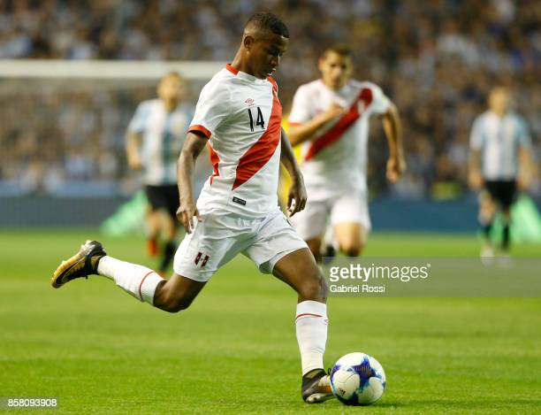 Andy Polo of Peru kicks the ball during a match between Argentina and Peru as part of FIFA 2018 World Cup Qualifiers at Estadio Alberto J Armando on...