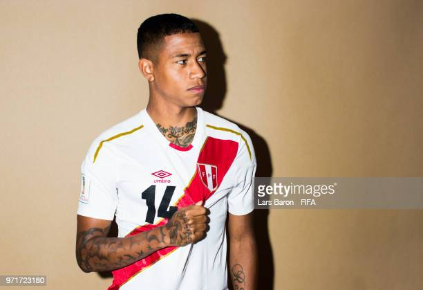 Andy Polo of Peru poses for a portrait during the official FIFA World Cup 2018 portrait session on June 11 2018 in Moscow Russia