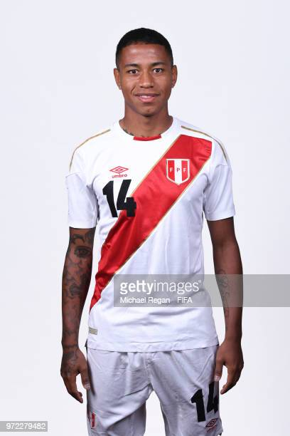 Andy Polo of Peru poses for a portrait during the official FIFA World Cup 2018 portrait session at the Team Hotel on June 11 2018 in Moscow Russia