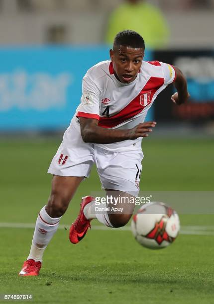 Andy Polo of Peru runs for the ball during a second leg match between Peru and New Zealand as part of the 2018 FIFA World Cup Qualifier Playoff at...