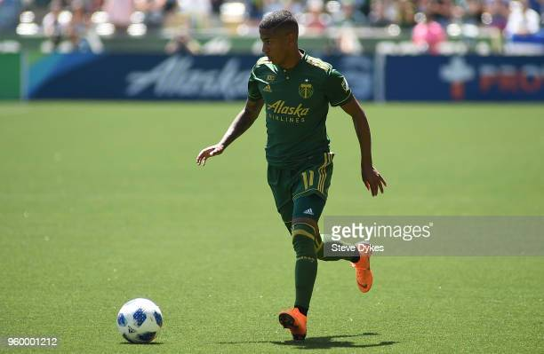 Andy Polo of Portland Timbers brings the ball during the first half of the game against the Seattle Sounders at Providence Park on May 13 2018 in...