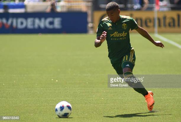 Andy Polo of Portland Timbers brings the ball up the pitch during the first half against the Seattle Sounders at Providence Park on May 13 2018 in...