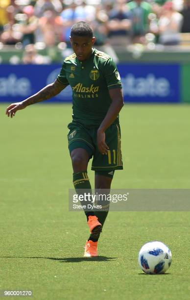 Andy Polo of Portland Timbers passes the ball during the first half of the match against the Seattle Sounders at Providence Park on May 13 2018 in...