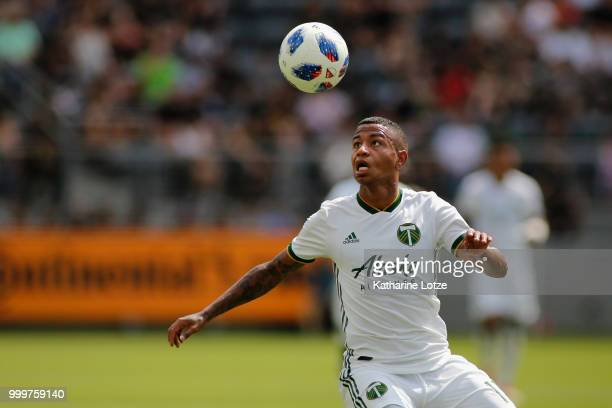 Andy Polo of the Portland Timbers settles the ball at Banc of California Stadium on July 15 2018 in Los Angeles California