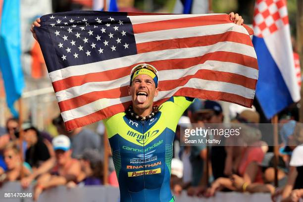 Andy Potts of the United States celebrates after finishing seventh during the IRONMAN World Championship on October 14 2017 in Kailua Kona Hawaii