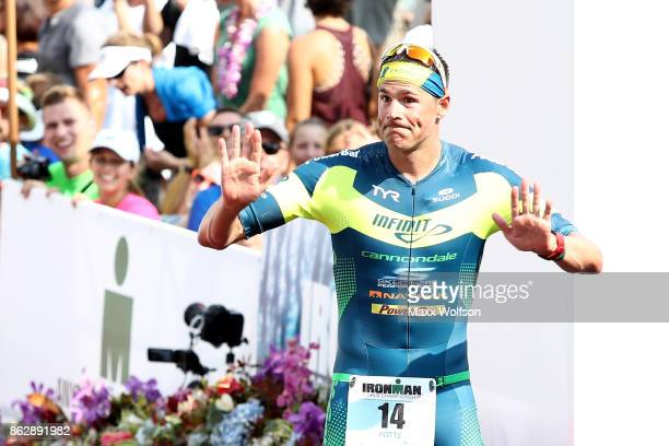 Andy Potts of the United States reacts after finishing seventh in the IRONMAN World Championship on October 14 2017 in Kailua Kona Hawaii