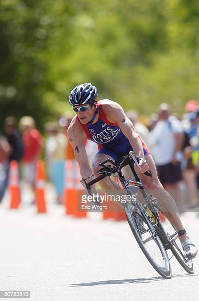 Andy Potts rides alone after leading the swim leg in the US Olympic Team Trials for Triathlon on April 19 2008 in Tuscaloosa Alabama Potts palced...