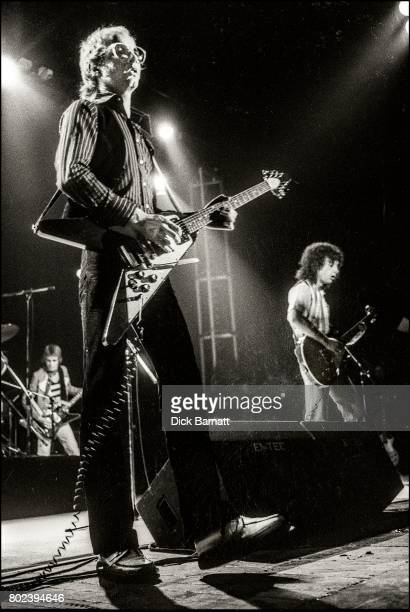 Andy Powell and Laurie Wisefield of Wishbone Ash performing on stage at Hammersmith Odeon London November 1976
