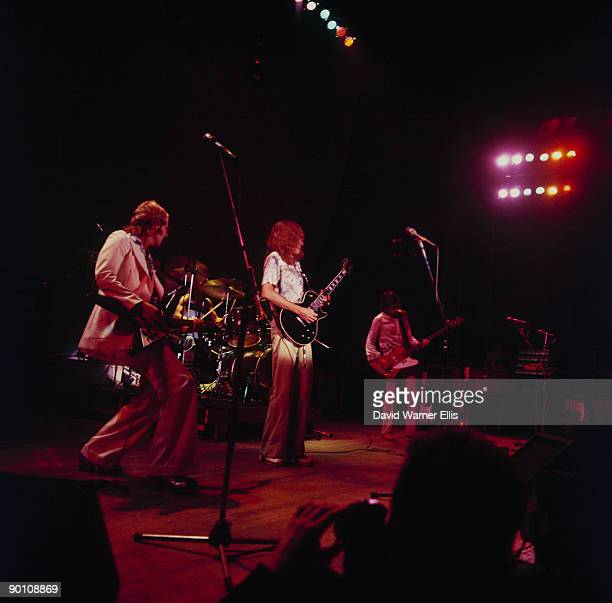 Andy Powell Steve Upton Ted Turner and Martin Turner of Wishbone Ash perform on stage at Alexandra Palace in London England on August 6 1973