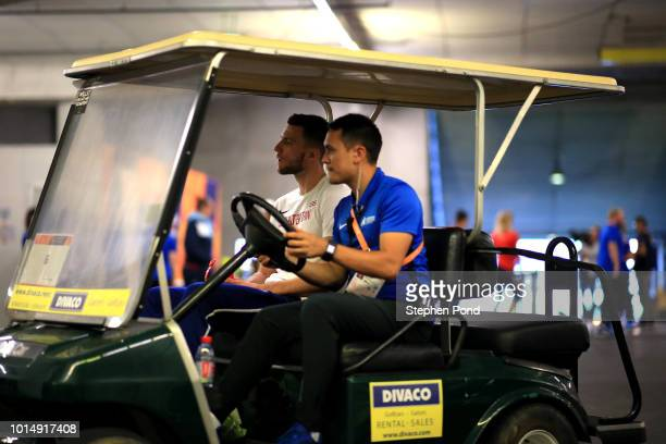Andy Pozzi of Great Britain arrives at the call room ahead of the Men's 110m hurdles during day four of the 24th European Athletics Championships at...