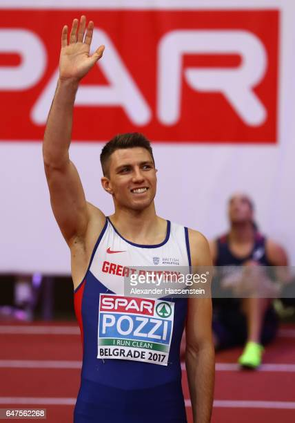 Andy Pozzi of Great Britain celebrates winning the gold medal in the Men's 60 metres hurdles final on day one of the 2017 European Athletics Indoor...