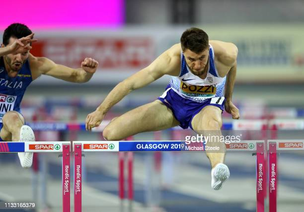 Andy Pozzi of Great Britain competes during the Men's 60m Hurdle Heats during the 2019 European Athletics Indoor Championships Day Two at the...