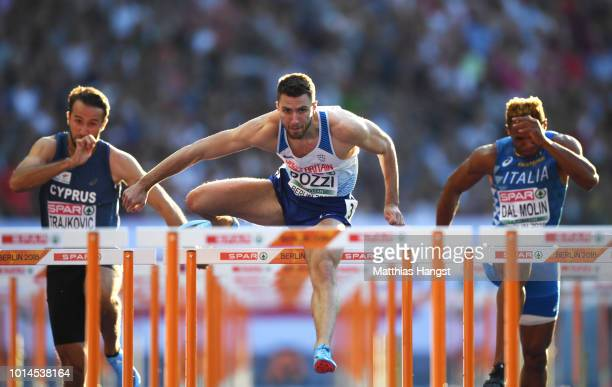 Andy Pozzi of Great Britain competes in the Men's 110m Hurdles semi final during day four of the 24th European Athletics Championships at...