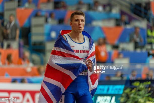 Andy PozziUnited Kingdom after winning 60m hurdles final for men at European athletics indoor championships in Belgrade on March 3 2017