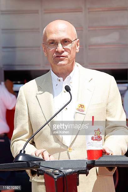 Andy Puzder CEO of CKE Restaurants parent company of CarlÕs Jr attends the Carl's Jr Celebrates Its 70th Anniversary on July 15 2011 in Los Angeles...