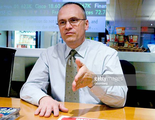 Andy Puzder chief executive officer of CKE Restaurants Inc speaks during an interview at Bloomberg headquarters in New York on March 9 2005 CKE...