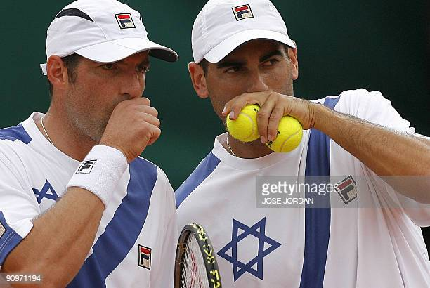Andy Ram and Jonathan Erlich from Israel during the third match of the Davis cup semifinal between Spain and Israel against Spain's Feliciano Lopez...