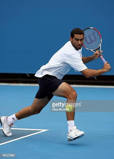 Andy Ram of Israel plays a backhand during his doubles match with Jonathan Erlich of Israel against Frantisek Cermak and Lukas Dlouhy of Czech...