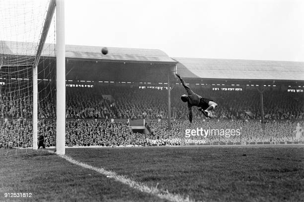 Andy Rankin the Everton goalkeeper saves from Hunt Liverpool v Everton final score 40 to Everton League Division One 19th September 1964