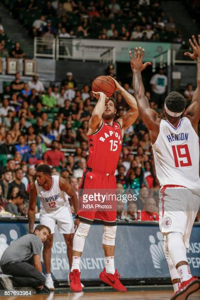 Andy Rautins of the Toronto Raptors shoots the ball during the preseason game against the LA Clippers on October 4. 2017 at the Stan Sheriff Center...