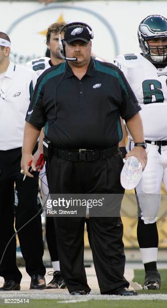 Andy Reid, head coach of the Philadelphia Eagles watches play against the Pittsburgh Steelers during a preseason game on August 8, 2008 at Heinz...