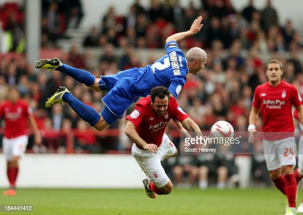 Andy Reid of Nottingham Forest wins a free kick against Kevin McNaughton of Cardiff during the npower Championship match between Nottingham Forest...