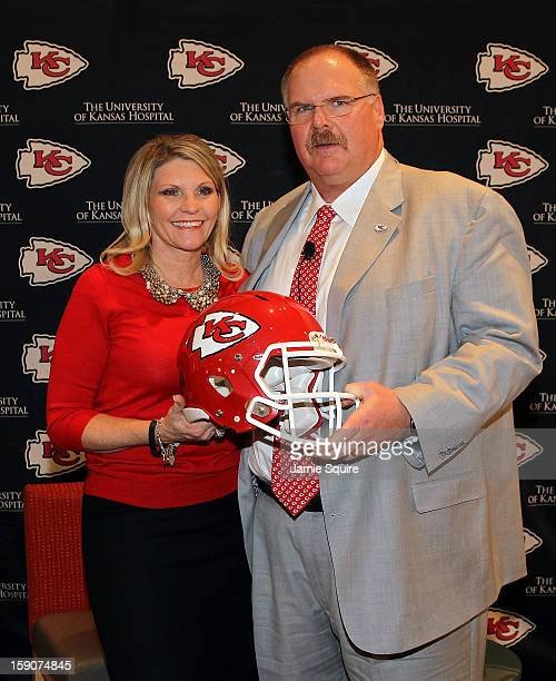 Andy Reid poses with wife Tammy during a press conference introducing Reid as the Kansas City Chiefs new head coach on January 7 2013 in Kansas City...