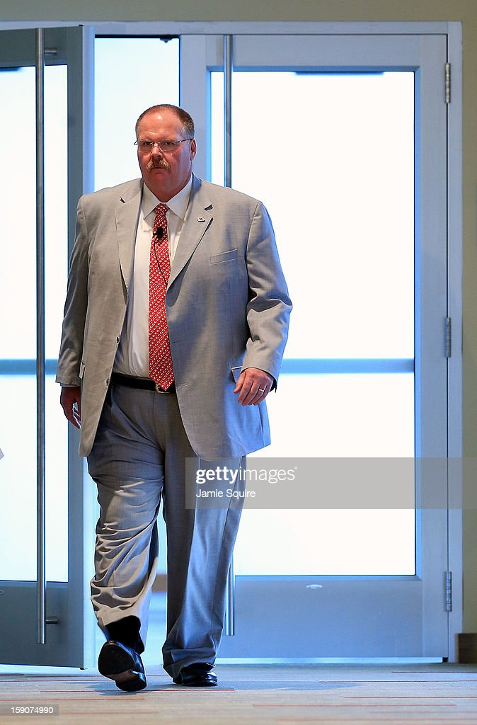 Andy Reid walks into a press conference introducing him as the Kansas City Chiefs new head coach on January 7, 2013 in Kansas City, Missouri.