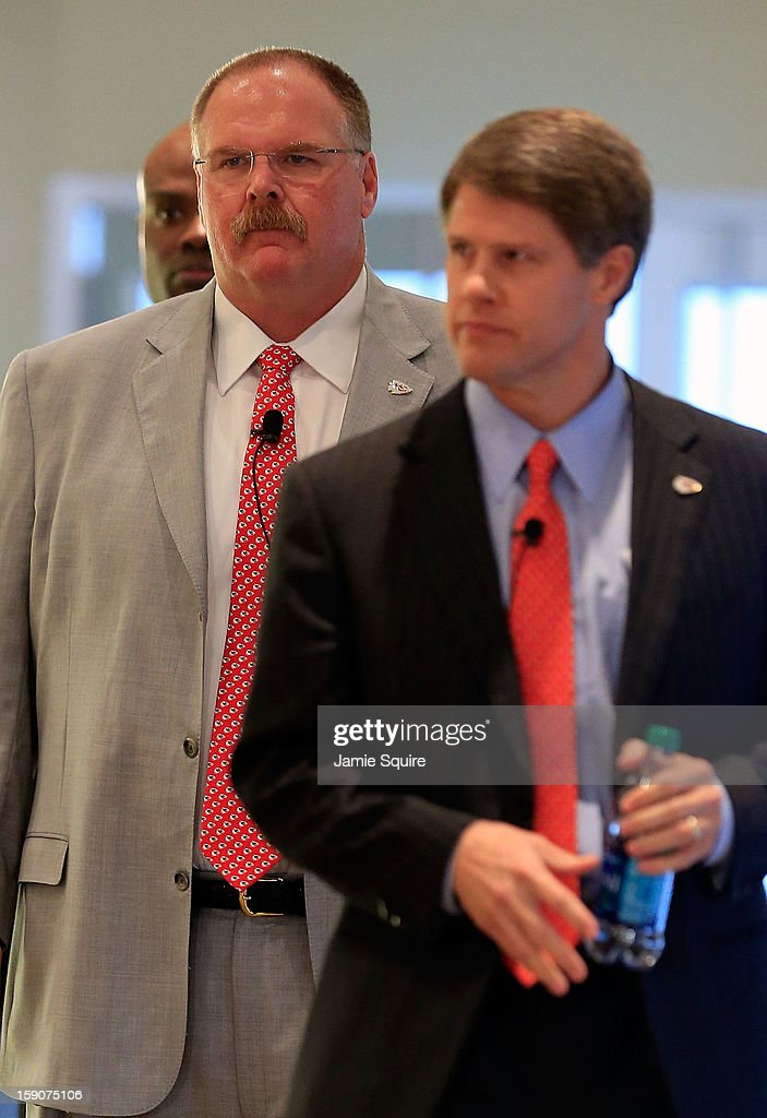 Andy Reid walks into a press conference with Kansas City Chiefs owner Clark Hunt introducing him as the Kansas City Chiefs new head coach on January 7, 2013 in Kansas City, Missouri.
