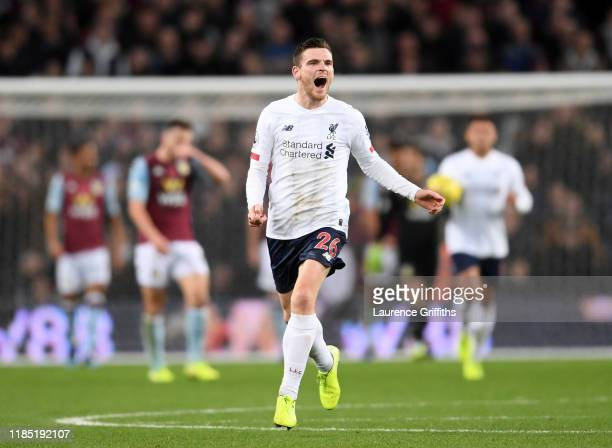 Andy Roberton of Liverpool celebrates scoring the equalising goal during the Premier League match between Aston Villa and Liverpool FC at Villa Park...