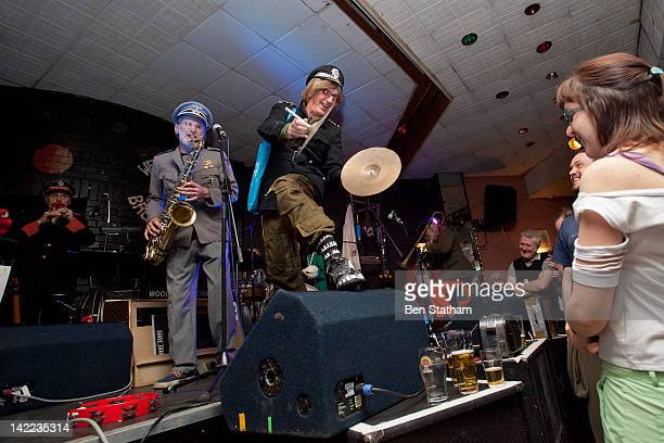 Andy Roberts Roger Ruskin Spear and Dave Glasson of Bonzo Dog DooDah Band performs on stage at Brudenell Social Club on March 31 2012 in Leeds United...