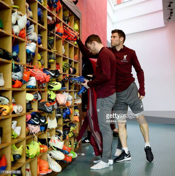 Andy Robertson and James Milner of Liverpool during a training session at Melwood training ground on February 18 2019 in Liverpool England