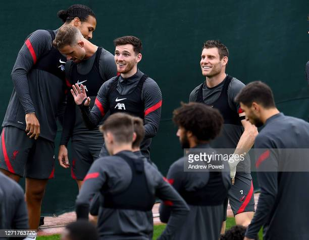 Andy Robertson and James Milner of Liverpool during a training session at Melwood Training Ground on September 10 2020 in Liverpool England