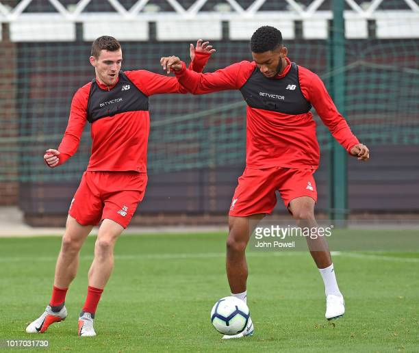 Andy Robertson and Joe Gomez of Liverpool during a training session at Melwood Training Ground on August 15 2018 in Liverpool England