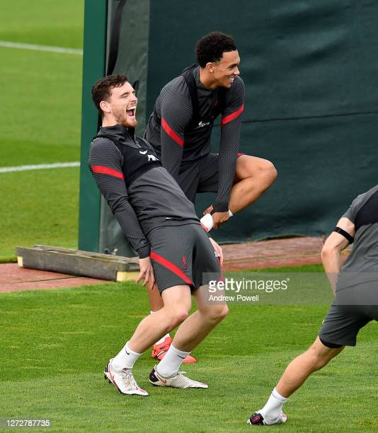 Andy Robertson and Trent AlexanderArnold of Liverpool during a training session at Melwood Training Ground on September 16 2020 in Liverpool England