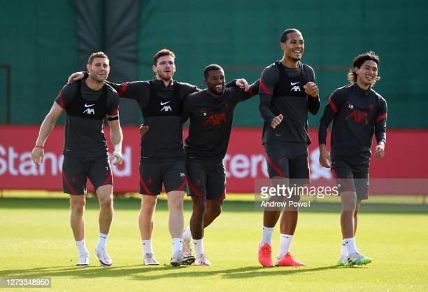 Andy Robertson Georginio Wijnaldum Virgil van Dijk James Milner and Takumi Minamino of Liverpool of Liverpool during a training session at Melwood...