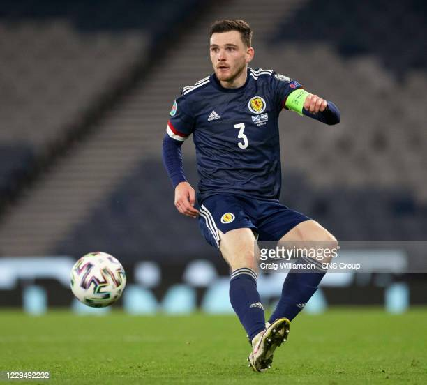 Andy Robertson in action for Scotland during a Euro 2020 Play off match between Scotland and Israel at Hampden Park, on October 08 2020, in Glasgow,...