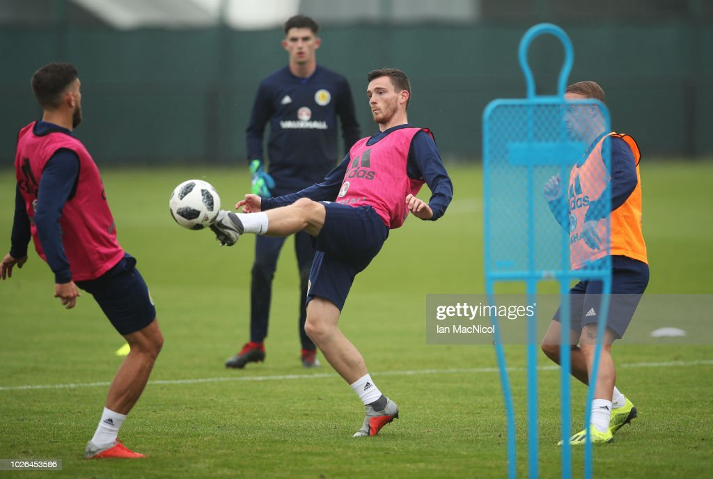 Andy Robertson is seen during a Scotland training session ahead of their International friendly match against Belgium at Orium Performance Centre on September 3, 2018 in Edinburgh, Scotland.