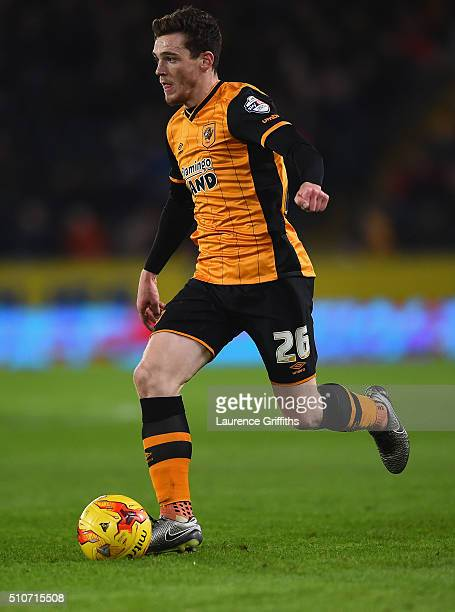 Andy Robertson of Hull City in action during the Sky Bet Championship match between Hull City and Brighton and Hove Albion at KC Stadium on February...