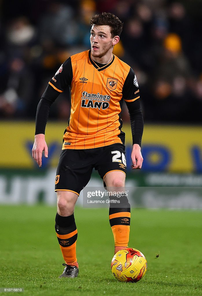 Andy Robertson of Hull City in action during the Sky Bet Championship match between Hull City and Brighton and Hove Albion at KC Stadium on February 16, 2016 in Hull, United Kingdom.
