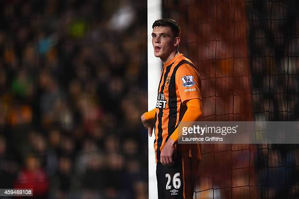 Andy Robertson of Hull City looks on during the Barclays Premier League match between Hull City and Tottenham Hotspur at KC Stadium on November 23,...