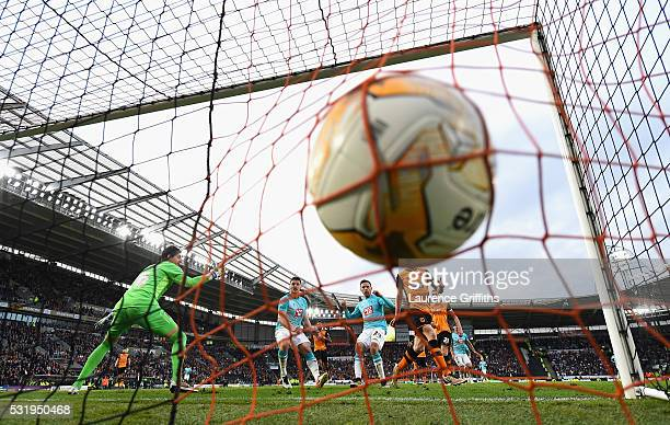 Andy Robertson of Hull City scores an own goal during the Sky Bet Championship Play Off semi final second leg match between Hull City and Derby...