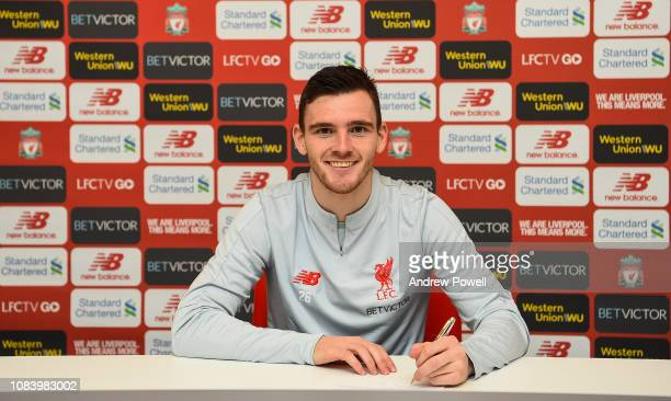 Andy Robertson of Liverpool after signing a long term extension on his contract at Melwood Training Ground on January 17 2019 in Liverpool England