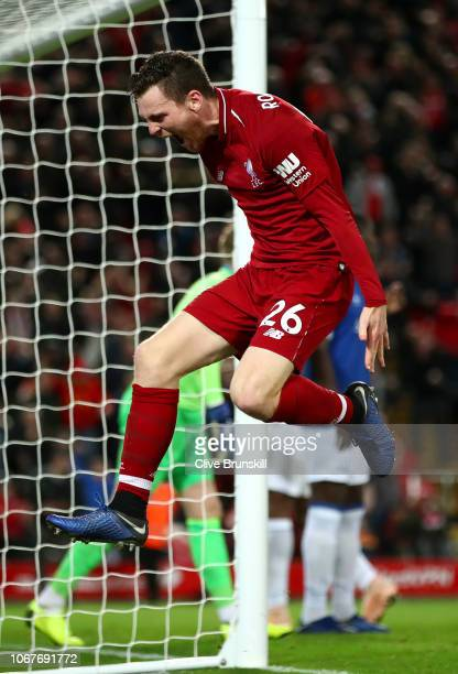 Andy Robertson of Liverpool celebrates his team's first goal during the Premier League match between Liverpool FC and Everton FC at Anfield on...
